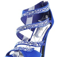 Marichi Mani Yamila02 Royal Blue Strappy Rhinestone High Heels and Shop shoes at MakeMeChic.com
