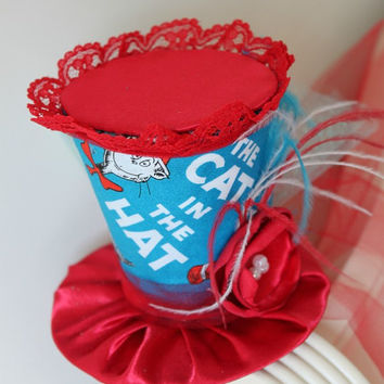 Mini Top Hat - Cat In the Hat - Girl's Birthday Top Hat - Dr.Seuss Minit Top Hat