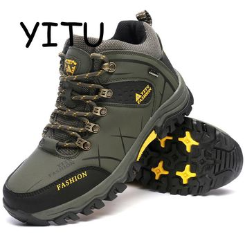 YITU Rubber Hunting Boots Waterproof Men's Winter Sneakers Trekking Hiking Shoes Outdoor Sneakers Sport Climbing Shoes Leather