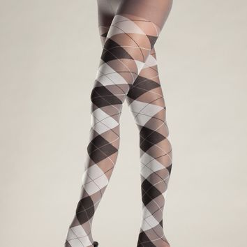 Be Wicked Grey and Black Argyle Pantyhose