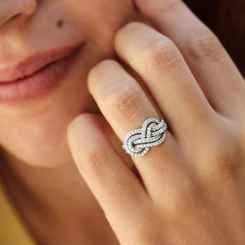 Gold Wedding Band, Double Infinity Knot Ring, 0.75 CT Diamond Ring, Infinity Ring, Womens Wedding Bands, Unique Rings