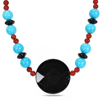 18? 12mm Natural Turquoise Round Beads, 6mm Carnelian Round Beads & 11x8mm Knife Edge Onyx Beads Necklace with 40mm Facetted Round Onyx Center Piece & Silver 9mm Ball Clasp