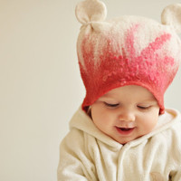 Felted baby girl hat - Happy ears