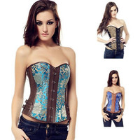 Women's Steampunk Punk Brocade Faux Leather Overbust Corset Bustier Basque Top