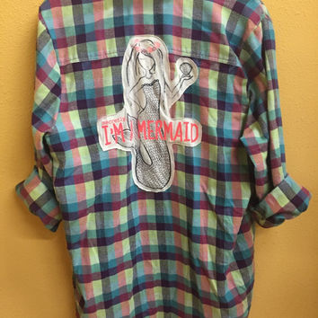 Handmade vintage mermaid tee and plaid flannel combo shirt top size medium/large