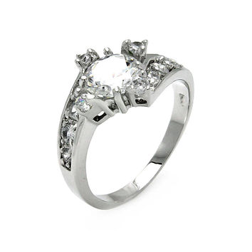 925 Sterling Silver Ladies Jewelry Diamond Shape Design Cubic Zirconia Stones Ring Center Design: 11.9mm X 13mm: Size: 5