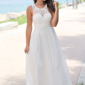 Beige Maxi Dress with Pleated Lace Top