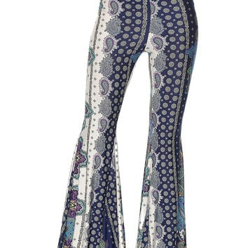 Black/Blue Paisley Print Flare Pants