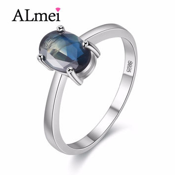 Almei Simple Blue Sapphire Rings Gifts Made of Natural Stones Women Present Pure 925 sterling Silver Gemstone Jewelry 40% FJ098
