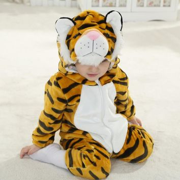 Unisex-baby Flannel Romper Onesuit Outfits Suit Costume Infant Tiger Anime Cosplay Newborn Toddlers Clothing