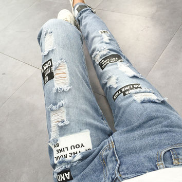 summer hole jean women Casual Straight Trousers printed loose solid Ripped pencil pants Street Women Denim Trouser z20