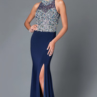Navy Long Beaded High Neck Halter Prom Dress With Side Slit