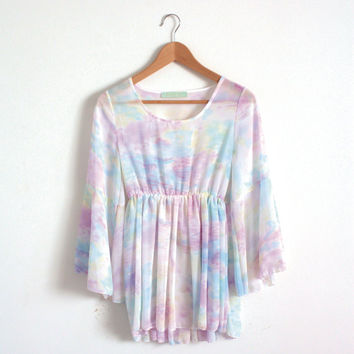 Vintage Chiffon Dress Pastel Colors Bell Ruffle Sleeves Baby Doll Dress Women's Dress Pastel Dress Cute and Sweet Drop Fit Dress Water Color