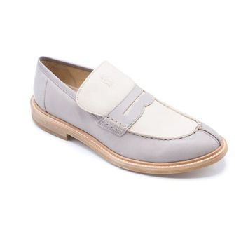 Brunello Cucinelli Beige Leather Two-Toned Loafer Shoes