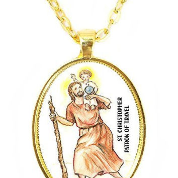 St Christopher Patron Saint of Travel Huge 30x40mm Bright Gold Pendant with Chain Necklace