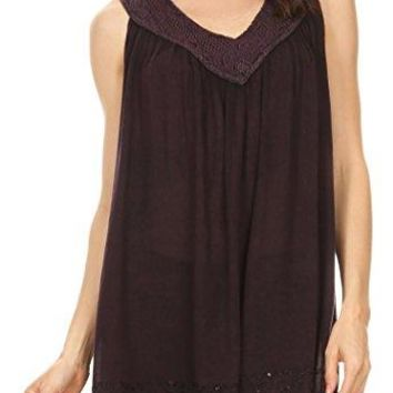 Sakkas MAISSA Sleeveless VNeck Tank Top with Crochet Trim and Embroidery