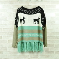 Cute Green Fringe Hem Reindeer Winter Knit Sweater