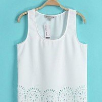 Scoop Lace Chiffon Pure Color Sleeveless Short Crop Top