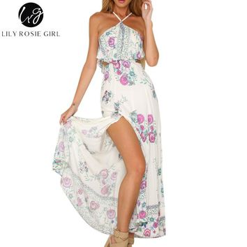 Lily Rosie Girl Sexy Halter Boho Pink Floral Print Ruffles Dress Women Off Shoulder Summer Beach Maxi Long Dresses Vestidos
