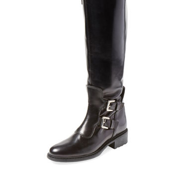 Charles David Women's Perina Double Buckle Leather Boot - Black -