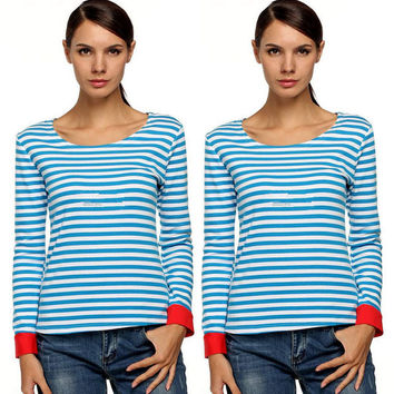 Blue Stripe Long-Sleeve Stitching T-Shirt