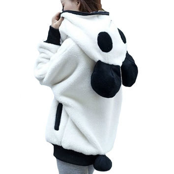 Kawaii Bear Hoodie Coats Female Hat Panda Plush Wool Sweater Loose Cuff Bat Jacket Women Basic Coat Oversize Jaqueta Feminina