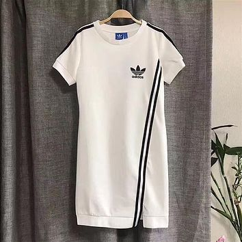 Adidas Summer Fashion Womens Short-sleeves irregular Dress