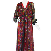 1970s Sant Angelo Chiffon Caftan Dress