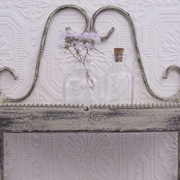 Wrought Iron Wall Shelf Antique White Shabby Chic Wall Decor