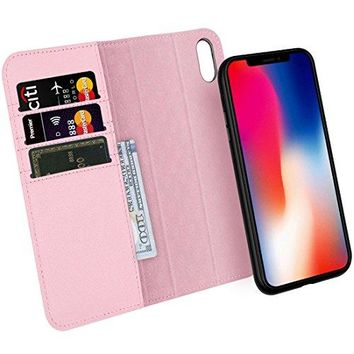 Zover iPhone X Case Detachable Genuine Leather Wallet Case With Auto Sleep/Wake Function Support Wireless Charging Magnetic Car Mount Holder Kickstand Feature Magnetic Closure Gift Box Pink