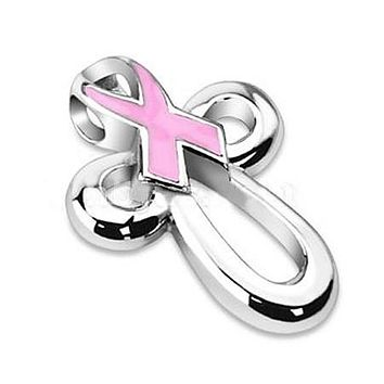 Pink Ribbon Cross - Stainless Steel Breast Cancer Awarness Pendant