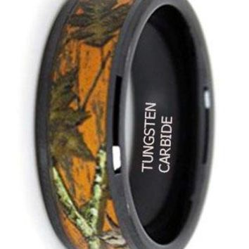 CERTIFIED 8mm Orange Wedding Camo Promise Ring