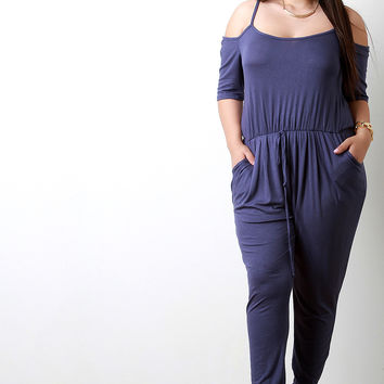 Sporty Cold Shoulder Cinched Waist Jumpsuit