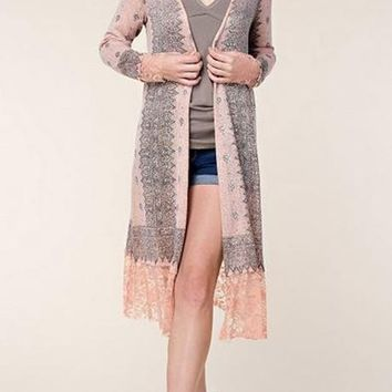 Vocal Print & Rhinestones Long Cardigan - Peach
