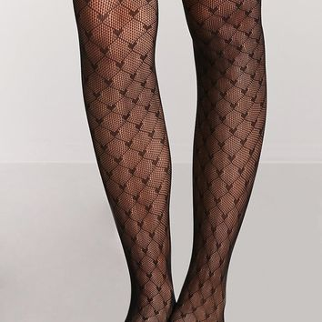 Heart Fishnet Tights