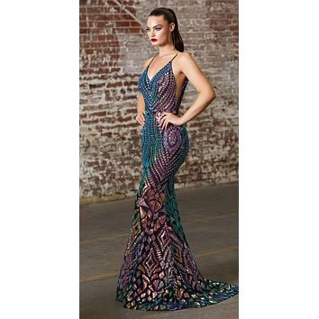 Long Fitted Sequin Print Gown Black Iridescent Pattern Sheer Illusion Sides