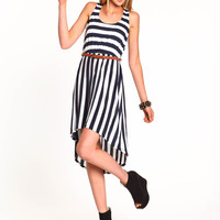 Striped Belted Knit Dress
