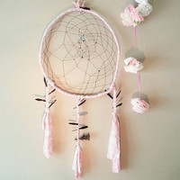 Dream Catcher, Gift for him, Gift for her, bohemian, bedroom decor ideas, Home and Living, Boho, Home Decor Ideas, Wall Art, Pink & Black XL