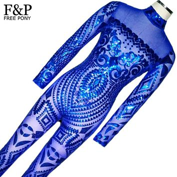 Blue Rompers Womens Jumpsuit Romper Sexy Gold Geometric Tattoo Sequin Jumpsuit Women Long Sleeve Sequined Women Bodysuit Catsuit
