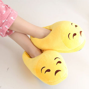 Kawaii Emoji Slippers For Women Men Emoji Plush Slippers Home Indoor Winter Adult Shoes Pantufa Pantoffels