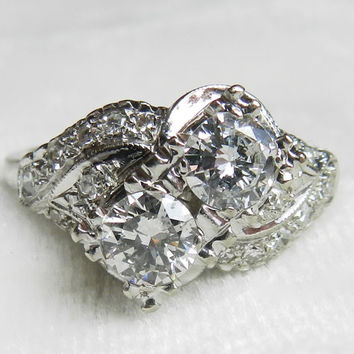 Engagement Ring 1.5 Ct tdw Art Deco Engagement 14K Gold Ring Antique Engagement Ring Antique Diamond Ring 1920s Toi Et Moi You and Me Ring