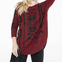 Marled Southwestern Extreme Circle Hem Sweater from EXPRESS