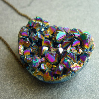 Titanium Quartz Rainbow Crystal Druzy Geode Necklace  by AstralEYE