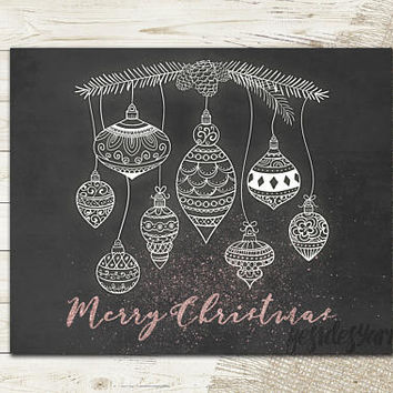 Rose Gold Christmas Print, Christmas Print, Holiday Printable, Rose Gold Decor, Rosegold Wall Art, Merry Christmas Ornaments Digital Print