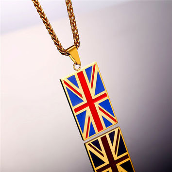 National Flag Of United Kingdom Necklace Gold Color Stainless Steel Pendant & Chain Men/Women Heart UK Jewelry 2017