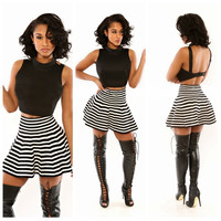 Black Cropped Top and Striped Mini Skirt