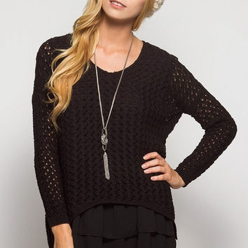 Layered Sweater Tunic - Black