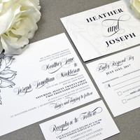 Formal Floral Wedding Invitations White and Black Wedding Pocket Invite Modern Wedding Invitation Suite Calligraphy Wedding Invites Elegant