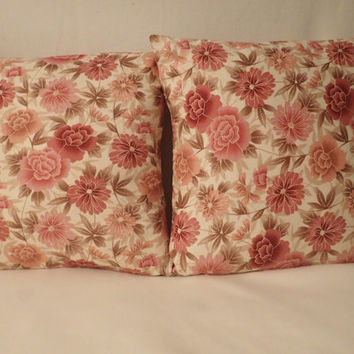 Decorative Pillow Cover  Pillow Cover 16 x16 Pillow Cover Rose Pink Flowers Green Leaves Spring Pattern