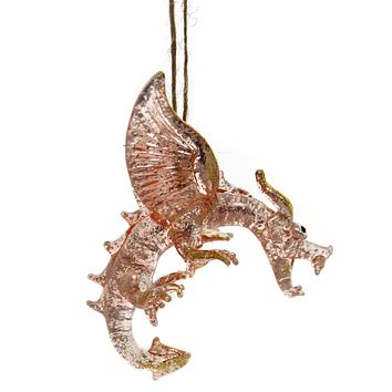 Holiday Ornaments DRAGON Glass Glitterville El0301 Pink